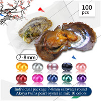 Favorable 7-8mm mixed 10 colors Round Akoya twin pearls oyster 1