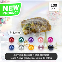 Latest mixed 10 colors 7-8mm Round Akoya pearl oyster 100pcs