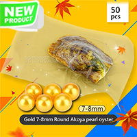 Dazzling Gold 7-8mm Round Akoya pearl oyster 50pcs