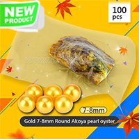 Dazzling Gold 7-8mm Round Akoya pearl oyster 100pcs
