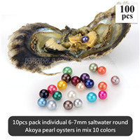 6-7mm mix 10 colors round akoya pearls oyster 100pcs