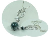 wholesale black 7.5-8mm akoya pearl pendant with zircon beads
