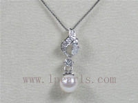 7.5-8mm white akoya pearl pendant with zircon beads on sale