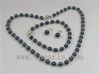 6-6.5mm round black Akoya pearl necklace set wholesale