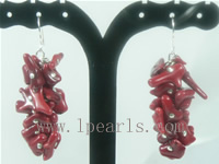 branch red coral sterling dangling earrings on wholesale