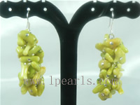 branch apple green coral sterling dangling earrings