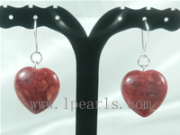 wholesale red color heart shape coral dangling sterling earrings