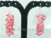 branch peachblow coral sterling dangling earrings on wholesale