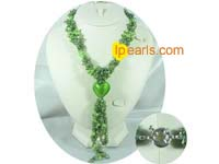 Three strands glaze braid jewelry pearl necklace