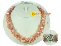 wholesale three strands bamboo pink coral necklace