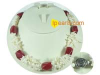 white coral bamboo necklace with red pillar coral on wholesale