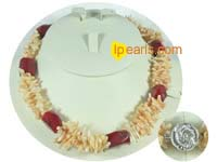 yellow coral bamboo necklace with red pillar coral on wholesale