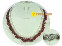 red coral beads and white potato pearl necklace on wholesale