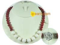 wholesale 12mm white coral with 10mm red coral necklace
