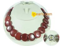 20mm coin-shape red coral jewelry necklace