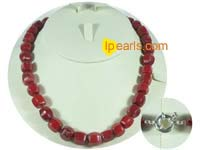 13mm octagon red coral jewelry necklace