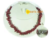 wine red color branch coral necklace with some discount