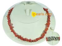 red color branch coral necklace with some discount on wholesale