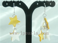 pentagram shell sterling silver dangling earrings on wholesale