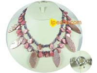 Two rows amethyst jewelry necklace with shell beads & shell leav
