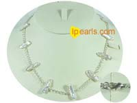 white 20x8mm keishi freshwater pearl tin cup necklace