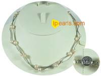 plated silver tin cup pink pearl necklace