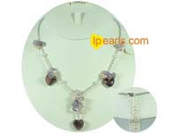 4-5mm pink freshwater jewelry pearl necklace with purple hear cr