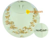5-6mm yellow top drilled potato freshwater pearl necklace