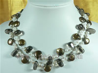 6-7mm champagne coin shaped freshwater pearl necklace