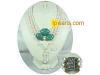 8-9mm turquoise jewelry and white potato pearl necklace