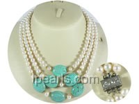 6-7mm white freshwater jewelry pearl necklace with turquoise bea