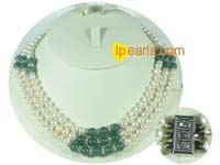 Precious three rows white fresh water jewelry pearl necklace