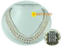 triple strands freshwater jewelry pearl necklaces 7-8mm