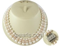 three rows rice shaped freshwater pearl necklace