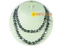 wholesale 10mm black coin freshwater pearl rope necklace