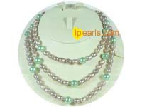 7-8mm rice freshwater pearl with shell pearl necklace