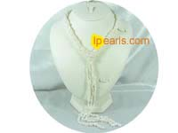 two strands 6-7mm freshwater rice pearl necklace