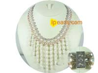 triple strands rice freshwater pearl necklaces with whisker