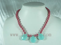 wine imitated shell pearl with faced crystal necklace