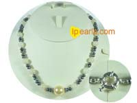 5-6mm black button pearl with topaz necklace
