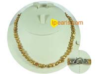 6-7mm golden color smooth on both sides freshwater pearl necklac