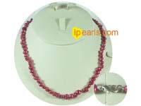 6-7mm maroon color nugget  freshwater pearl necklace