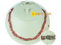 6-7mm red color nugget freshwater pearl necklace