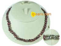 6-7mm wine red color nugget freshwater pearl necklace
