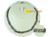 6-7mm black color nugget freshwater pearl necklace