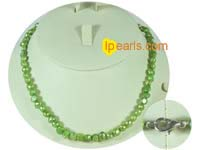 6-7mm green color smooth on both sides freshwater pearl necklace