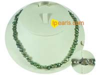 6-7mm bottle-green color nugget freshwater pearl necklace