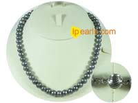 8-9mm black potato freshwater pearls necklace