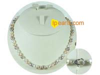 6-7mm multi color rice freshwater pearl necklace