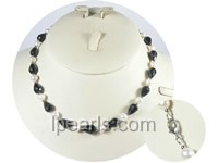 white fresh water jewelry pearl necklace with black crystal bead